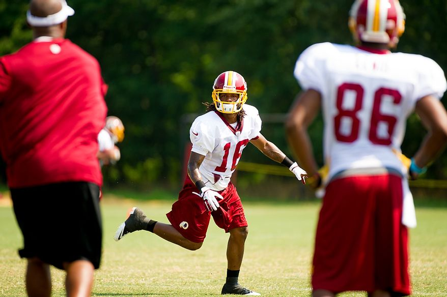 Washington Redskins wide receiver Brandon Banks (16) goes out for a pass during afternoon practice at training camp at Redskins Park, Ashburn, Va., Wednesday, August 1, 2012. (Andrew Harnik/The Washington Times)