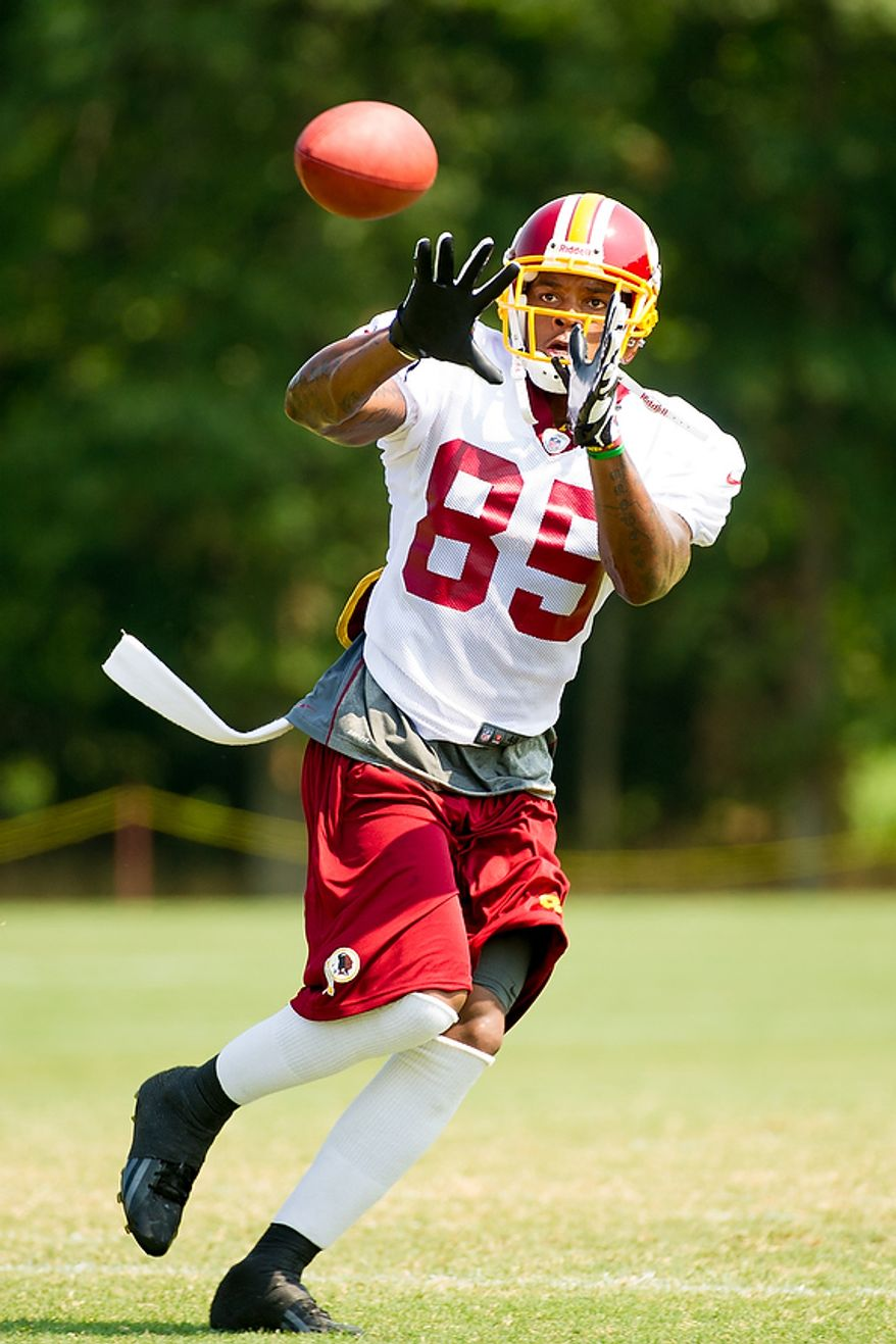 Washington Redskins wide receiver Leonard Hankerson (85) catches a pass during afternoon practice at training camp at Redskins Park, Ashburn, Va., Wednesday, August 1, 2012. (Andrew Harnik/The Washington Times)