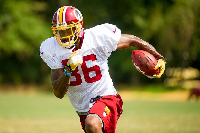 Washington Redskins wide receiver Lance Lewis (86) during afternoon practice at training camp at Redskins Park, Ashburn, Va., Wednesday, August 1, 2012. (Andrew Harnik/The Washington Times)