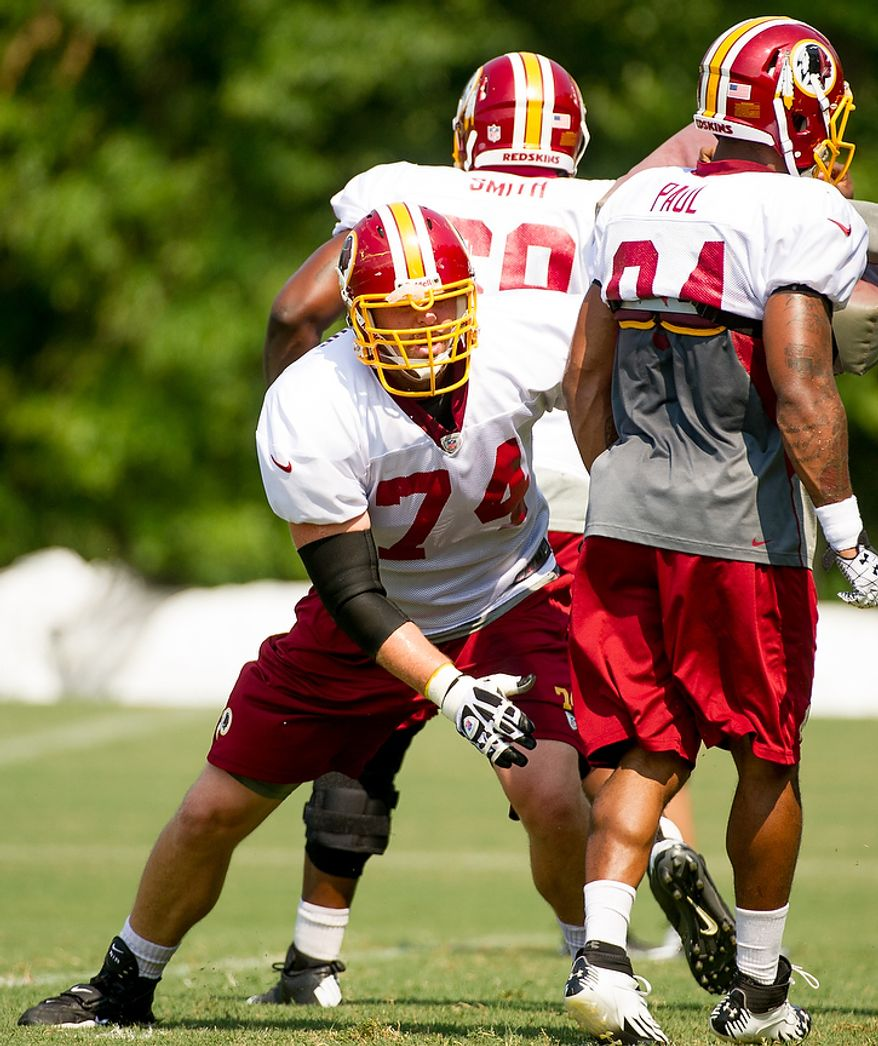 Washington Redskins offensive tackle Tyler Polumbus (74) during afternoon practice at training camp at Redskins Park, Ashburn, Va., Wednesday, August 1, 2012. (Andrew Harnik/The Washington Times)