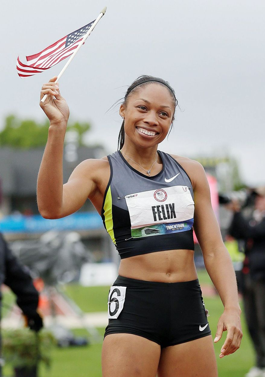 Allyson Felix tied for third in the 100 meters in the U.S. trials, but Jeneba Tarmoh conceded, giving Felix the spot on the Olympic team. (Associated Press)