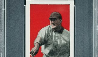 A 1910 Honus Wagner baseball card is one of 37 cards found in an attic expected to bring $500,000 at auction in Baltimore. (Associated Press)