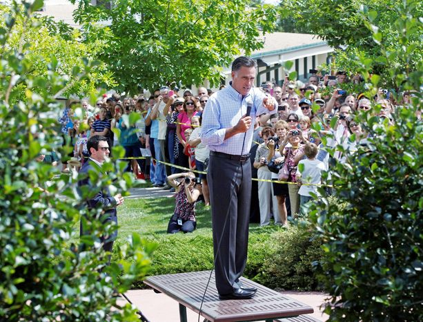 Mitt Romney, the presumptive Republican presidential nominee, addresses an overflow crowd as he campaigns with his Plan for a Stronger Middle Class at the Jefferson County Fairgrounds in Golden, Colo., on Thursday. (Associated Press)