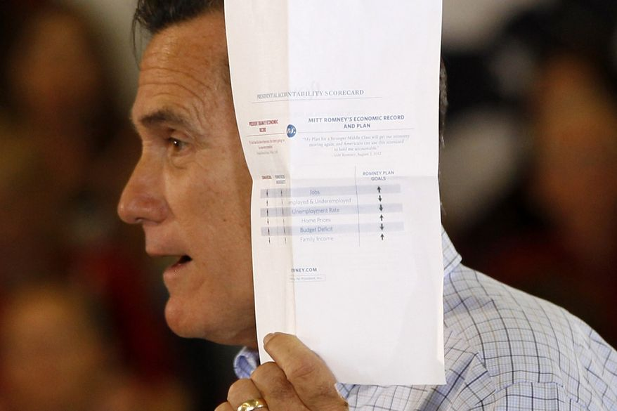 """Republican presidential candidate Mitt Romney holds up a """"presidential accountability scorecard"""" comparing himself to President Obama, as he campaigns Aug. 2, 2012, at the Jefferson County Fairgrounds in Golden, Colo. (Associated Press)"""