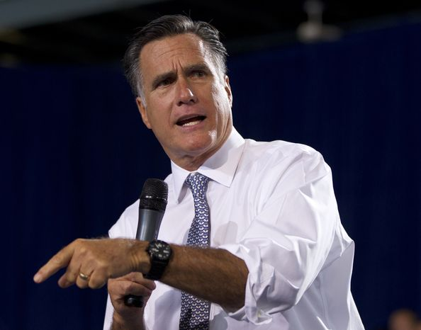 ** FILE ** Republican presidential candidate Mitt Romney speaks on Wednesday, July 18, 2012, in Bowling Green, Ohio. (Associated Press)