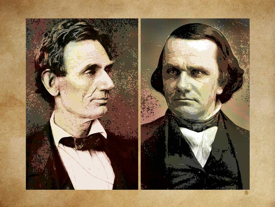 Illustration Lincoln Douglas by Greg Groesch for The Washington Times