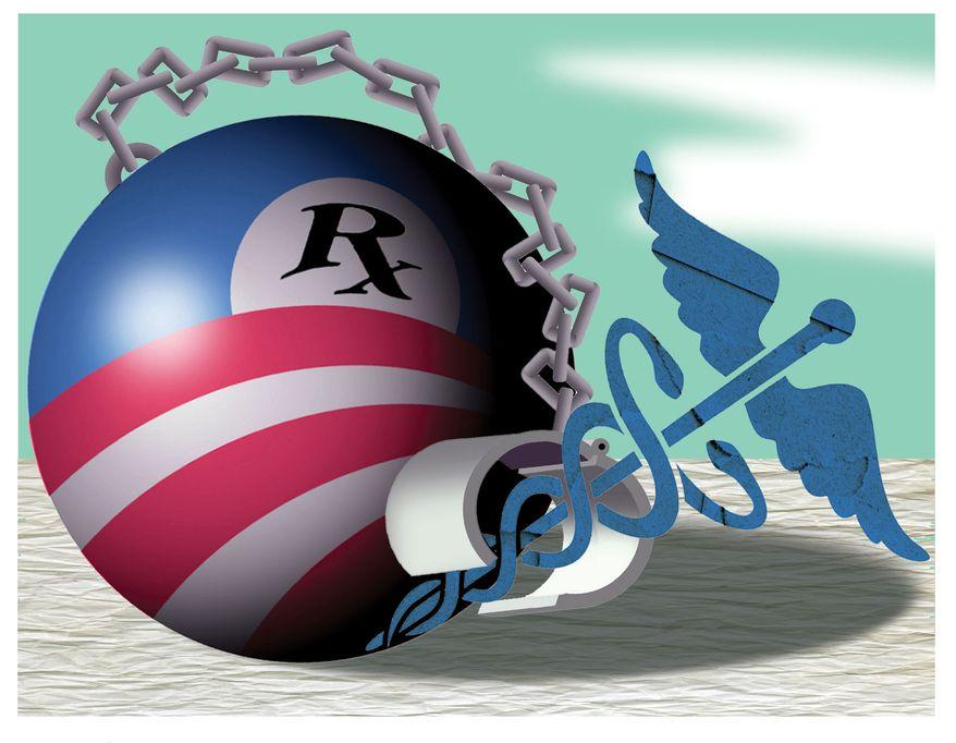 Illustration Obamacare Hindering Medicine by Alexander Hunter for The Washington Times