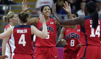 USA's Candace Parker is congratulated by teammates after a basket agains the Czech Republic during a women's basketball game at the 2012 Summer Olympics, Friday, Aug. 3, 2012, in London. (AP Photo/Charles Krupa)