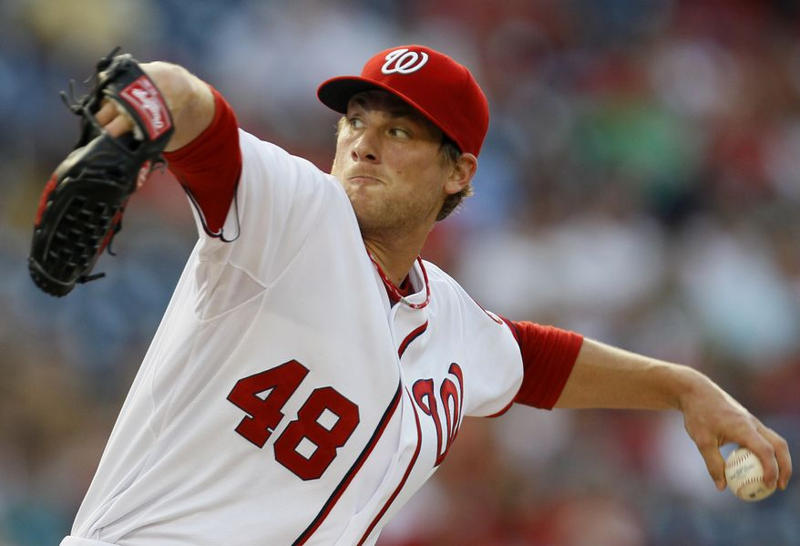 Washington Nationals starting pitcher Ross Detwiler delivers in the first inning during a baseball game against the Philadelphia Phillies, Thursday, Aug. 2, 2012, in Washington. (AP Photo/Carolyn Kaster)