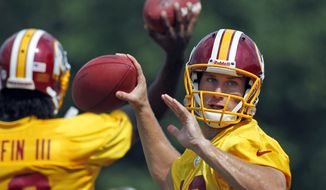 Washington Redskins quarterback Kirk Cousins, right, prepares to throw as quarterback Robert Griffin III throws behind him during an NFL football training camp practice at Redskins Park, Thursday, Aug. 2, 2012, in Ashburn, Va. (AP Photo/Alex Brandon)