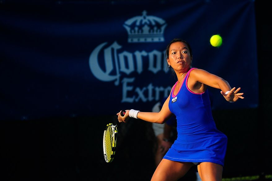 Vania King plays in her match against Coco Vandeweghe at the Citi Open tennis tournament at the William H.G. FitzGerald Tennis Center, Washington D.C., Thursday, August 2, 2012.  (Ryan M.L. Young/The Washington Times)