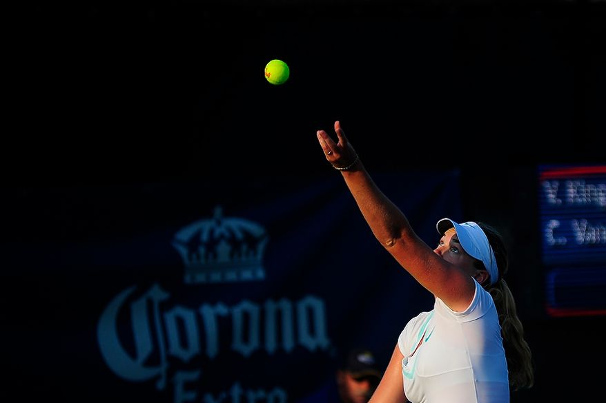 Coco Vandeweghe plays in her match against Vania King at the Citi Open tennis tournament at the William H.G. FitzGerald Tennis Center, Washington D.C., Thursday, August 2, 2012.  (Ryan M.L. Young/The Washington Times)