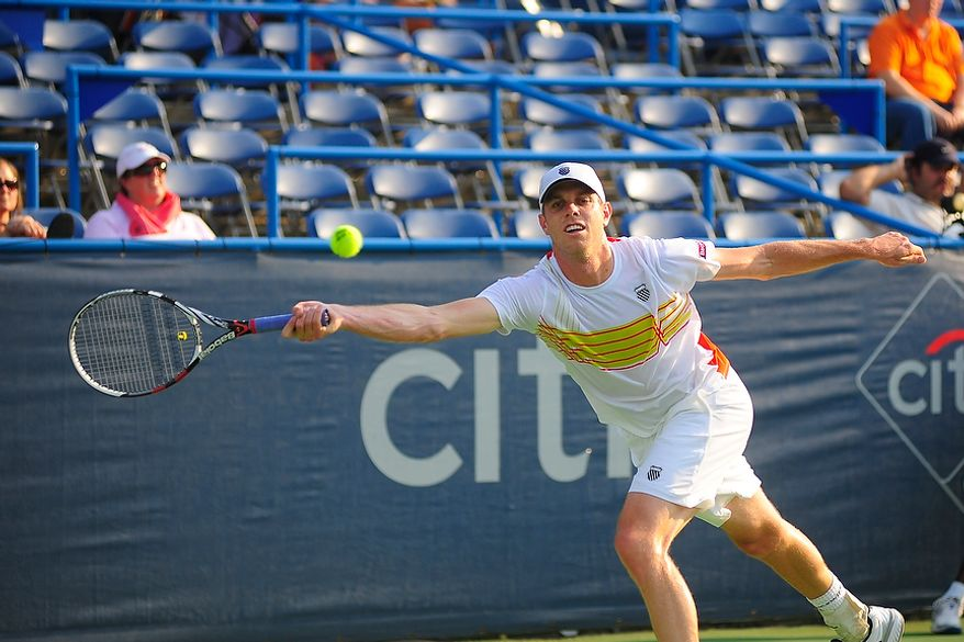 Sam Querrey plays in his match against Benjamin Becker at the Citi Open tennis tournament at the William H.G. FitzGerald Tennis Center, Washington D.C., Thursday, August 2, 2012.  (Ryan M.L. Young/The Washington Times)