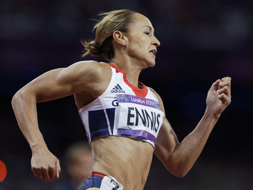 Britain's Jessica Ennis competes in a 200-meter heptathlon during the athletics in the Olympic Stadium at the 2012 Summer Olympics, London, Friday, Aug. 3, 2012. (AP Photo/Ben Curtis)