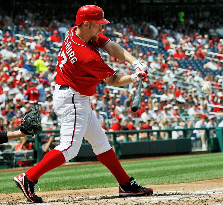 Stephen Strasburg hits a two-run single in the second inning to put the Nationals ahead for good in a 4-1 victory Sunday over Miami. He collected his 12th win of the season with six shutout innings, allowing only three hits and striking out six. (Associated Press)