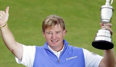associated press Ernie Els, of South Africa, holds up the Claret Jug after winning the British Open Golf Championship at Royal Lytham & St. Annes golf club, in Lytham St. Annes, England, July 22. Els now has his sights on the PGA Championship in South Carolina.
