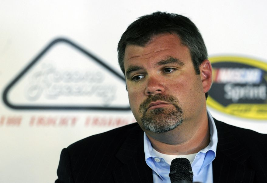 Pocono Raceway president and CEO Brandon Igdalsky speaks during a news conference at the racetrack, Monday, Aug. 6, 2012, in Long Pond, Pa. A 41-year-old NASCAR fan was killed by a lightning strike, and nine others were injured during a violent storm on Sunday at the rain-shortened NASCAR Sprint Cup Series Pennsylvania 400 auto race. (AP Photo/Pocono Record, David Kidwell)  MANDATORY CREDIT