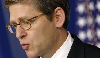 White House spokesman Jay Carney speaks Aug. 6, 2012, during his daily news conference at the White House in Washington. (Associated Press)