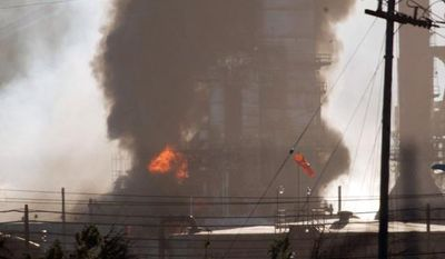 contra costa times via associated press Smoke and flames shoot up Monday from a crude oil unit at the Chevron refinery in Richmond, Calif. The facility makes high-quality products that include gasoline, jet fuel, diesel fuel and lubricants, as well as chemicals used in manufacturing.