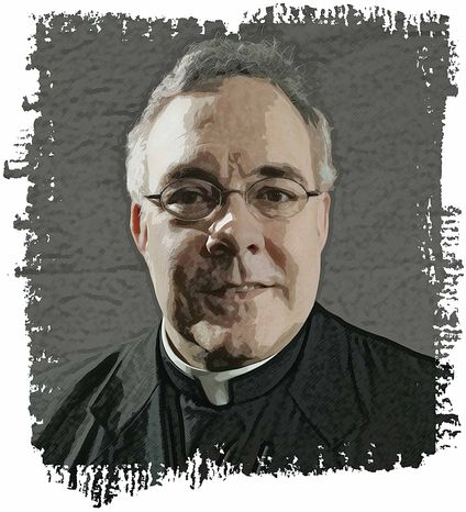 Illustration Father Robert Sirico by Greg Groesch for The Washington Times