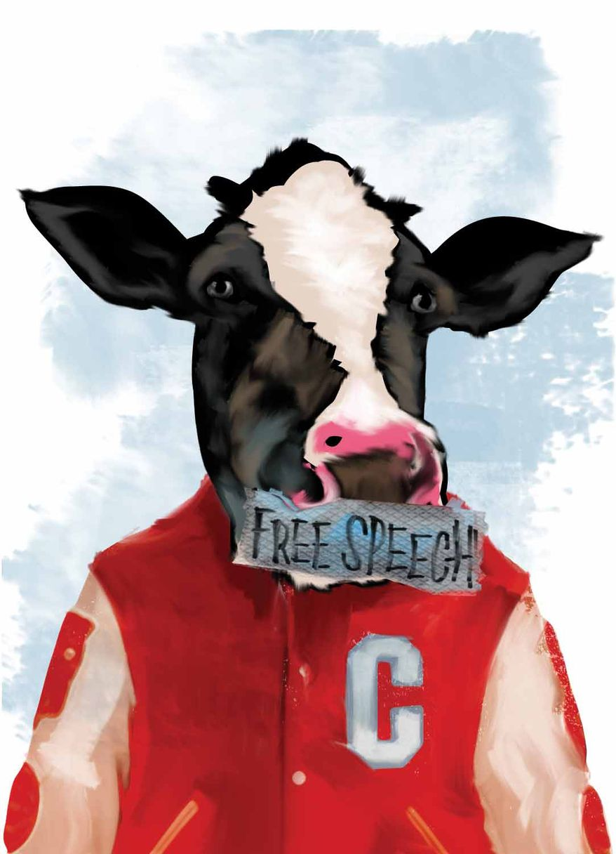 Illustration Free Speech Cow by Linas Garsys for The Washington Times