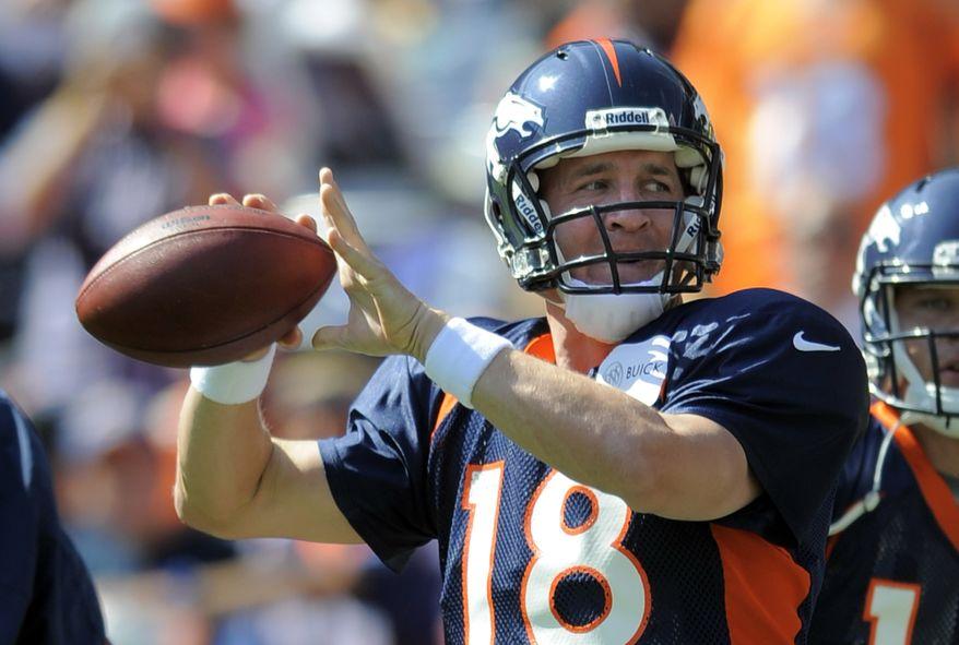 Denver Broncos quarterback Peyton Manning throws during NFL football training camp on Saturday, Aug. 4, 2012, in Denver. (AP Photo/Jack Dempsey)