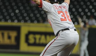 Washington Nationals closer Tyler Clippard reacts as a Houston Astros' Brett Wallace fly ball to deep center field is caught to end the game with a 3-2 win in 12 innings of a baseball game Tuesday, Aug. 7, 2012, in Houston. (AP Photo/Pat Sullivan)