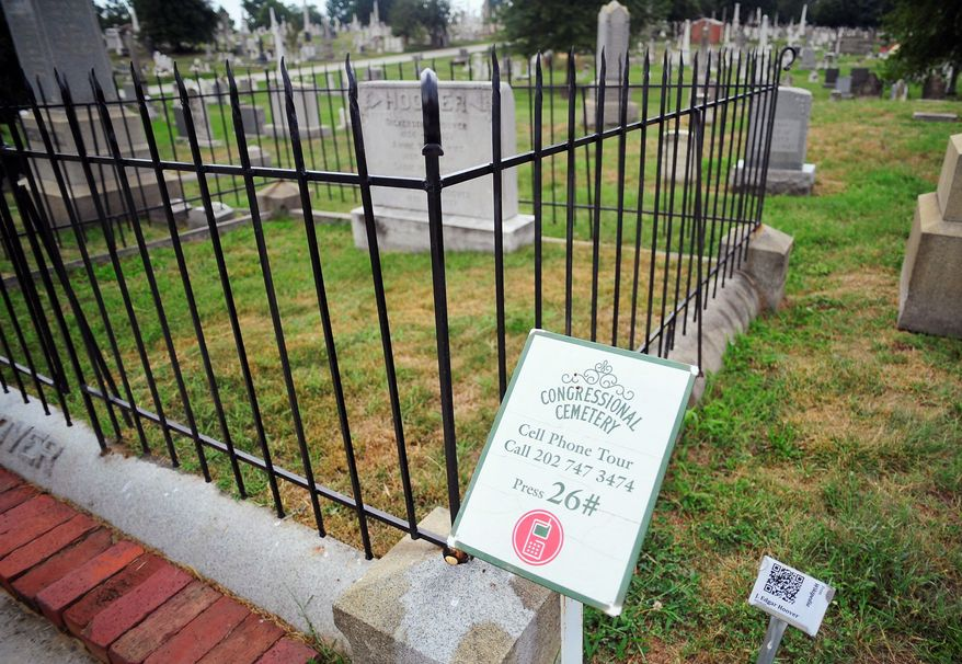 J. Edgar Hoover, first director of the FBI, is buried in Congressional Cemetery, the oldest national cemetery. Other notables buried there include American Indian chief Pushmataha, who fought for the U.S. in the War of 1812. The cemetery overlooks the Anacostia River. (Ryan M.L. Young/The Washington Times)