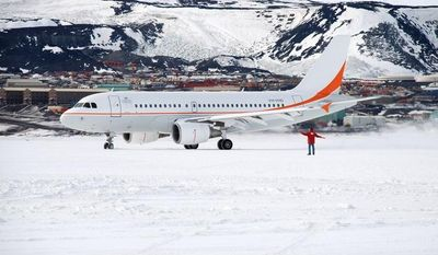 An Airbus A319 of the Australian Antarctic Division taxis on the runway at the McMurdo base in Antarctica in this undated photo. (AP Photo/Australian Antarctic Division)