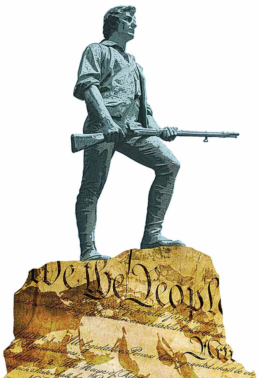 Illustration Guns and the Constitution by Greg Groesch for The Washington Times