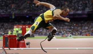 **FILE** South Africa's Oscar Pistorius participates Aug. 5, 2012 in the men's 400-meter semifinal at Olympic Stadium during the 2012 Summer Olympics in London. (Associated Press)