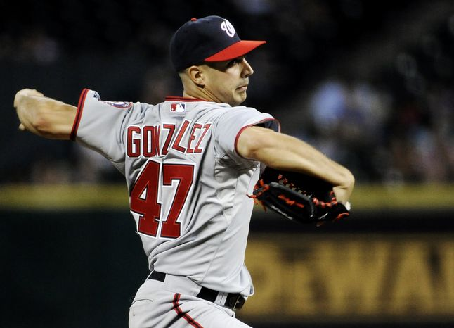 Washington Nationals' Gio Gonzalez delivers a pitch against the Houston Astros in the fifth inning of a baseball game, Wednesday, Aug. 8, 2012, in Houston. (AP Photo/Pat Sullivan)
