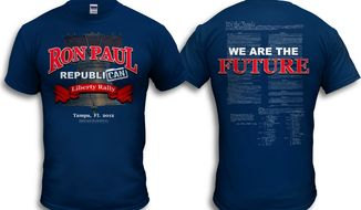 "Fit for the feisty: a new shirt for the ""We are the Future"" rally for Rep. Ron Paul in Tampa on August 26. (Image from the Ron Paul Presidential Committee)"
