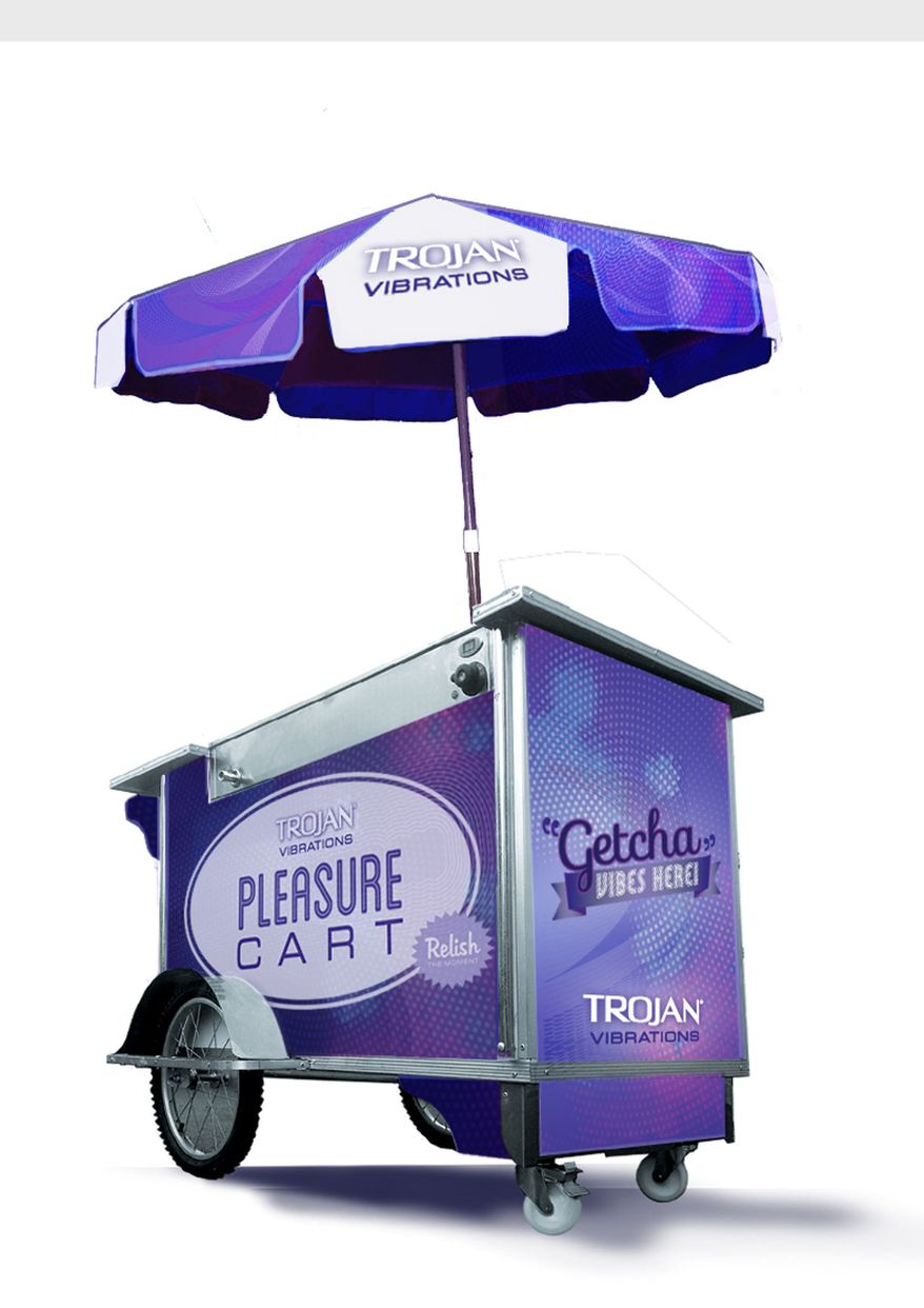 "The Trojan condom company set up ""Pleasure Carts"" on Aug. 9, 2012 in two Manhattan neighborhoods in New York. The company was set to give away 10,000 vibrating sex toys before large crowds caused city officials to shut down the event. (PRNewsFoto/Trojan Vibrations)"