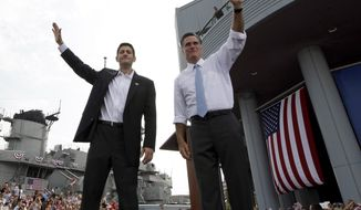Republican presidential candidate Mitt Romney (right) and Rep. Paul Ryan, Mr. Romney's newly announced running mate, wave at the crowd during a campaign event on Saturday, Aug. 11, 2012, in Norfolk, Va. (AP Photo/Mary Altaffer)