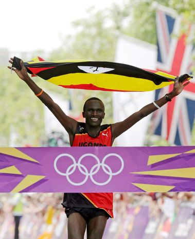 Stephen Kiprotich of Uganda was the surprise gold medalist, winning in 2 hours, 8 minutes, 1 second as he pulled away from the Kenyan duo of Abel Kirui and favorite Wilson Kiprotich Kipsang. (Associated Press)