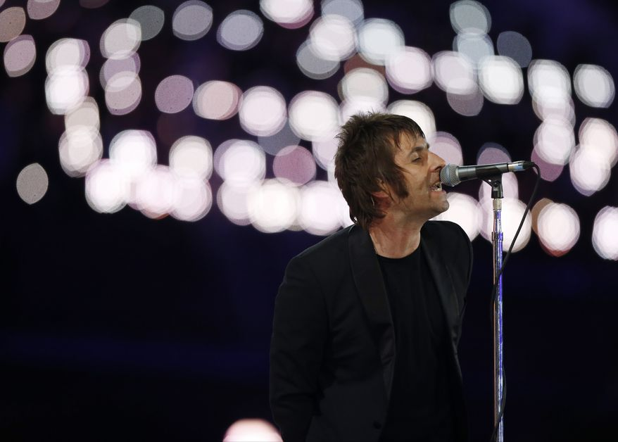 Liam Gallagher performs during the Closing Ceremony at the 2012 Summer Olympics, Sunday, Aug. 12, 2012, in London. (AP Photo/Matt Dunham)