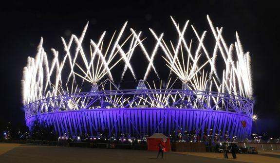 Fireworks explode during the Closing Ceremony of the 2012 Summer Olympics, Monday, Aug. 13, 2012, in London. (AP Photo/Eranga Jayawardena)