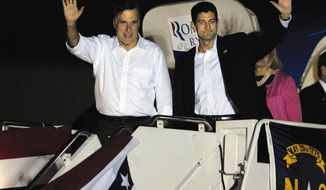 Presumptive Republican presidential nominee Mitt Romney (left) and his vice presidential running mate, Rep. Paul Ryan, arrive at Wilson Air Field in Charlotte, N.C., on Saturday, Aug. 11, 2012. (AP Photo/The Charlotte Observer, Adam Jennings)