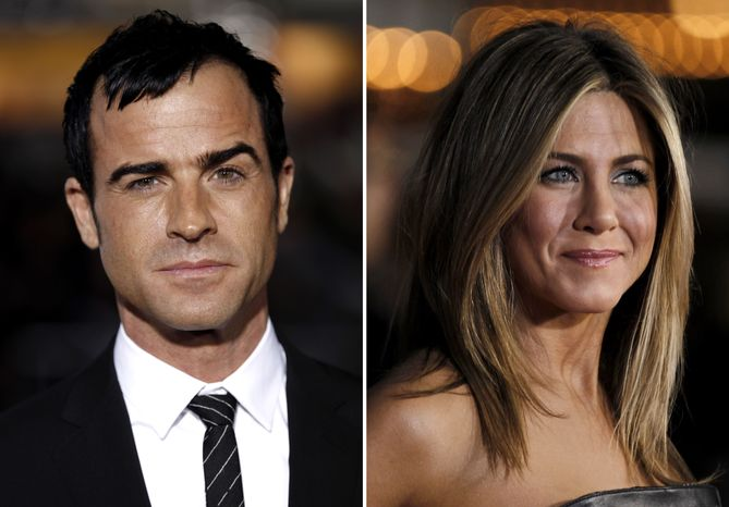 Actors Justin Theroux and Jennifer Aniston became engaged on Friday, Aug. 10, 2012, according to People magazine. (AP Photo/Matt Sayles)