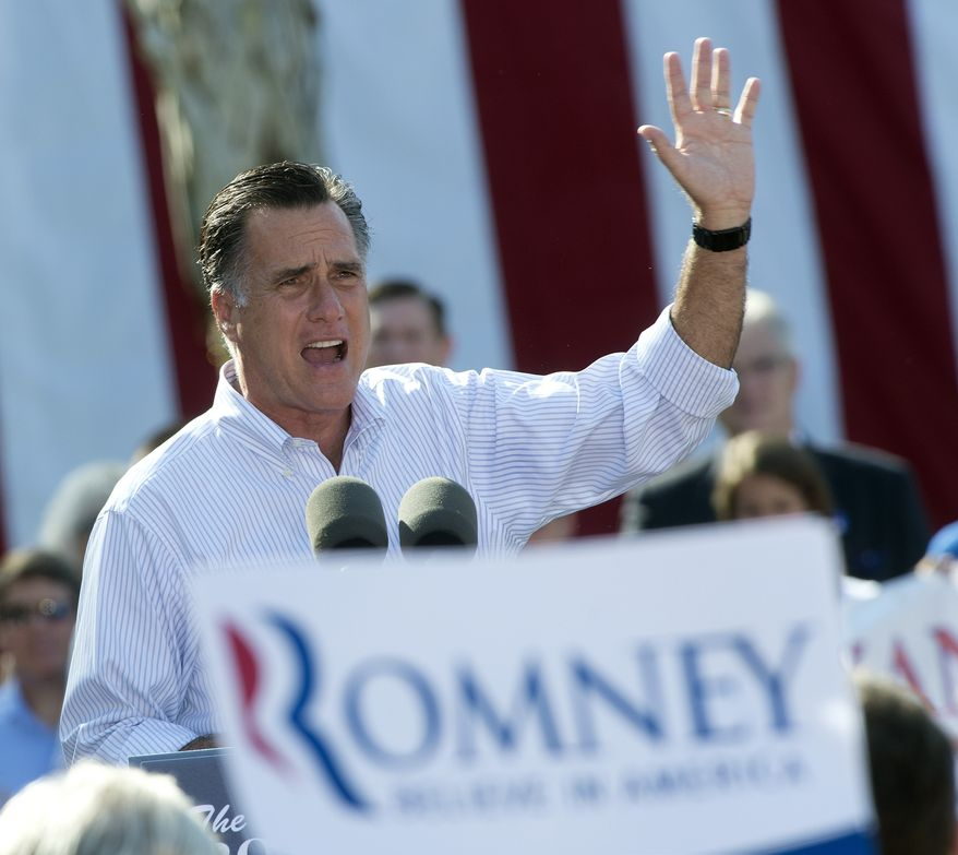 Republican presidential candidate Mitt Romney speaks Aug. 13, 2012, during a campaign event at Flagler College in St. Augustine, Fla. (Associated Press)