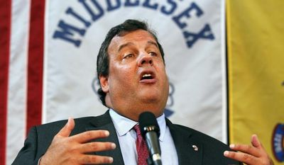 **FILE** New Jersey Gov. Chris Christie speaks Aug. 6, 2012, after signing Bill S-1455: Teacher Effectiveness and Accountability for the Children of New Jersey Act at Von E. Mauger Middle School in Middlesex, N.J. (Associated Press)