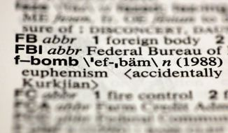 "The entry ""f-bomb,"" photographed Aug. 10, 2012, in New York, is one of about a hundred new additions in the 11th edition of Merriam-Webster's Collegiate Dictionary. (Associated Press)"