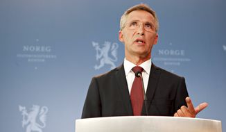 Norwegian Prime Minister Jens Stoltenberg answers questions in Oslo on Monday Aug. 13, 2012, about the findings of the inquiry into the July 22, 2011, attacks that killed 77 people. (AP Photo/Anette Karlsen, NTB Scanpix)