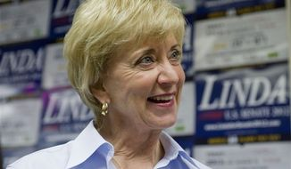 Republican candidate for U.S. Senate Linda McMahon smiles at a grand opening for her Farmington, Conn., office Friday, July 27, 2012. The former wrestling CEO defeated Christopher Shays in the primary Tuesday night. (AP Photo/Jessica Hill)