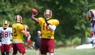 Redskins quarterback Robert Griffin III makes a pass during the Redskins training camp at Redskins Park in Ashburn, Va., Monday, August 13, 2012.  (Rod Lamkey Jr./The Washington Times)