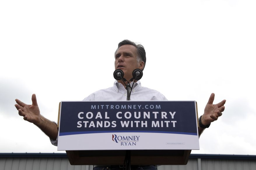Republican presidential candidate Mitt Romney speaks Aug. 14, 2012, during a campaign event at the American Energy Corporation in Beallsville, Ohio. (Associated Press)