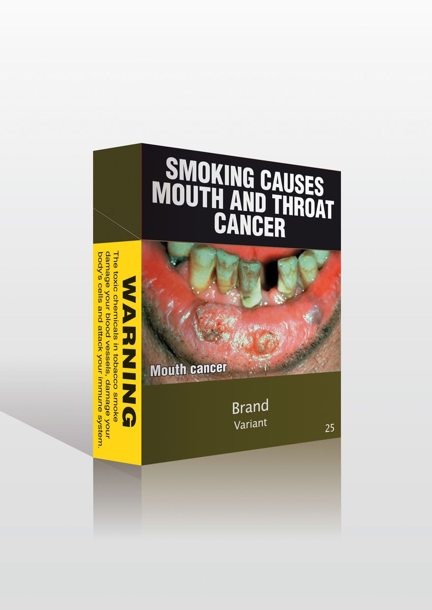 An image provided by Australia's Minister for Health and Aging shows cigarette packaging stripped of all logos and replaced with graphic images that tobacco companies in Australia will be forced to use. (AP Photo/Australian Minister for Health and Aging)