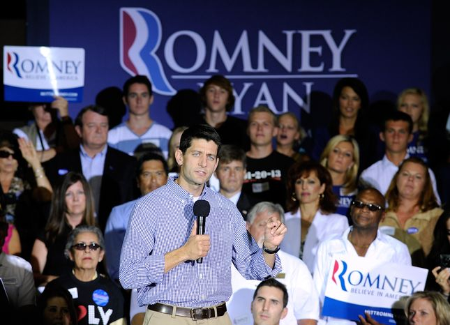 Republican vice presidential candidate Paul Ryan of Wisconsin speaks Aug. 14, 2012, during a campaign event at Palo Verde High School in Las Vegas. (Associated Press)