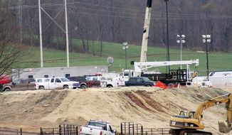 **FILE** Chesapeake Energy Corporation owns a natural gas drilling site in Leroy Township, Pa. (Associated Press)